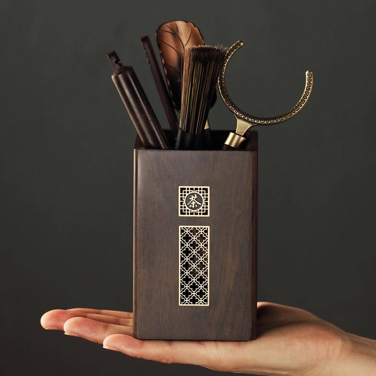 Набор чайных инструментов черное дерево