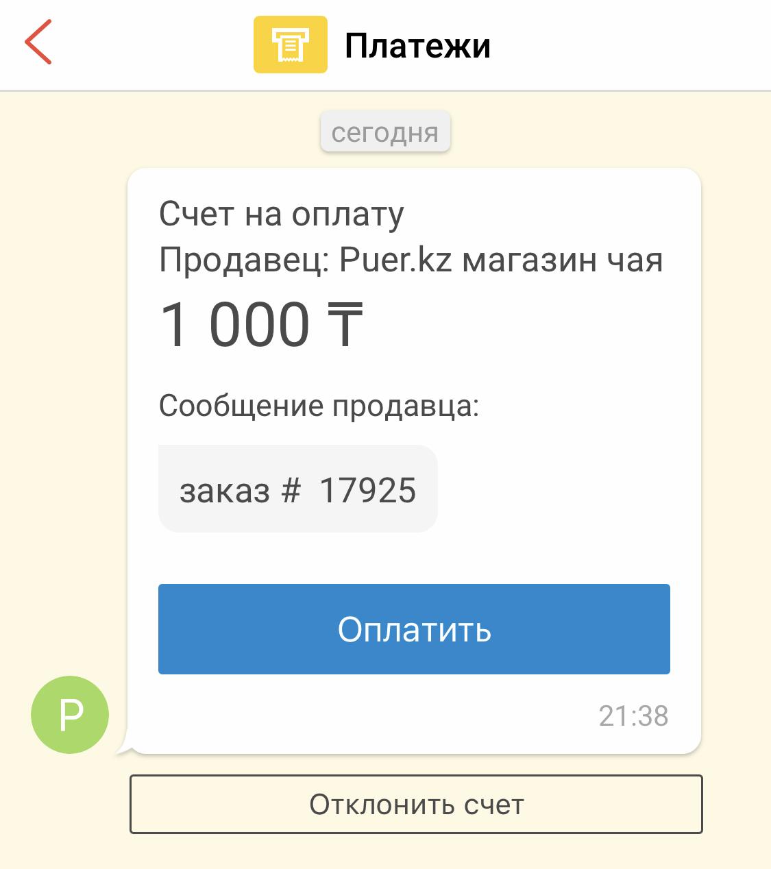 счет для оплаты в Kaspi от puer.kz